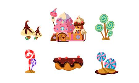 Tierra de dulces dulces, elementos de dibujos animados lindo de paisaje de fantasía para vector de interfaz de diseño de juegos móviles ilustración sobre un fondo blanco Ilustración de vector