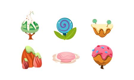 Elementy projektu słodkie cukierki land, słodkie kreskówki fantasy rośliny dla interfejsu gry mobilnej wektor ilustracja na białym tle.