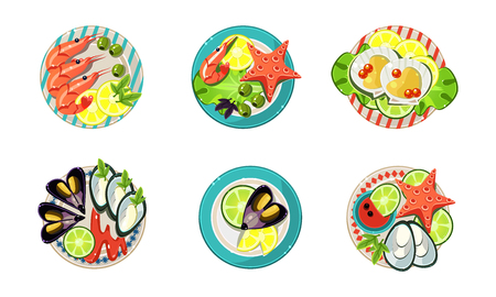 Seafood set, shrimp, oysters, mussels, and starfish vector Illustration isolated on a white background.