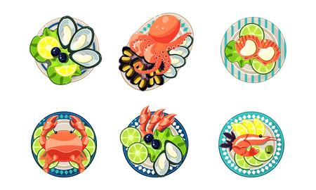 Ensemble de fruits de mer, huîtres, crevettes, poulpes, vecteur de homard Illustration isolé sur fond blanc.