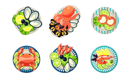 Seafood set, oysters, shrimps, octopus, lobster vector Illustration isolated on a white background.