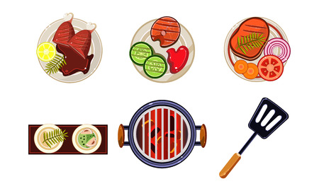 Meat and fish dishes cooked on the grill, tasty healthy food, top view vector Illustration isolated on a white background.