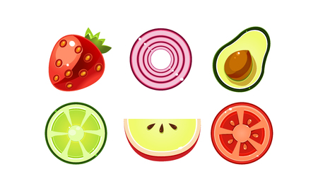 Fresh fruits and vegetables set, apple, tomato, lime, avocado, red onion, strawberry vector Illustration isolated on a white background. Иллюстрация