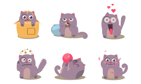 Grey mischievous cat in different situations with various emotions set, funny animal character vector Illustration isolated on a white background.