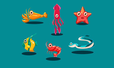 Sea creatures set, cute funny animals and fishes characters, squid, starfish, shrimp, lobster, zebrasoma fish, eel vector Illustration, web design