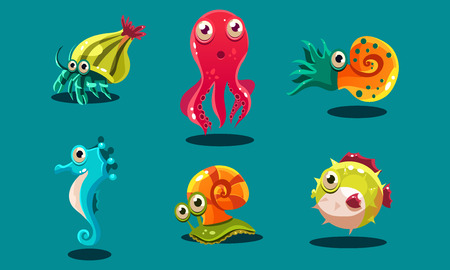 Sea creatures set, cute funny animals and fishes characters, seahorse, snail, cuttlefish, puffer fish, hermit crab vector Illustration, web design Illustration