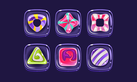 Glossy colorful shapes set, square candy blocks, assets for user interface GUI for mobile apps or video games vector Illustration, web design