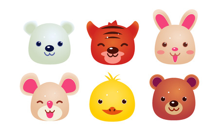 Heads of cute animals set, bear, face of bear, hare, mouse, tiger, chicken, polar bear, user interface assets for mobile apps or video games vector Illustration isolated on a white background.