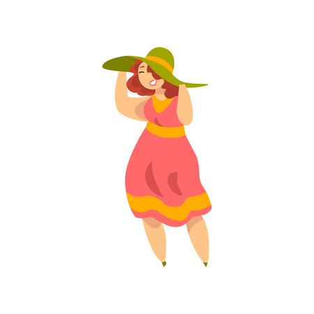 Ragazza formosa e sovrappeso in vestiti alla moda, più la moda di dimensioni, corpo positivo vettoriale illustrazione isolato su sfondo bianco.