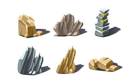 Stones of various shapes set, rocks and boulders vector Illustration isolated on a white background.