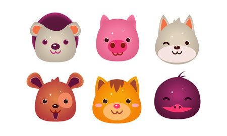 Heads of cute animals set, bear, face of dog, cat, bird, pig, user interface assets for mobile apps or video games vector Illustration isolated on a white background.