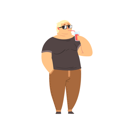 Handsome overweight man drinking soft drink, fat guy in fashionable clothes, body positive vector Illustration isolated on a white background. Illustration