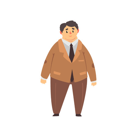 Handsome overweight man dressed brown suit, fat guy in fashionable clothes, body positive vector Illustration isolated on a white background.