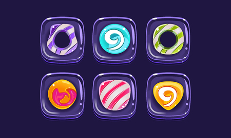Glossy colorful shapes set, square blocks, assets for user interface GUI for mobile apps or video games vector Illustration, web design