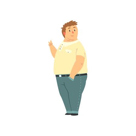 Hombre guapo con sobrepeso vestido con jeans y camisa, gordo en ropa casual, vector positivo cuerpo ilustración aislada sobre fondo blanco. Ilustración de vector
