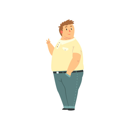 Handsome overweight man dressed jeans and shirt, fat guy in casual clothes, body positive vector Illustration isolated on a white background.