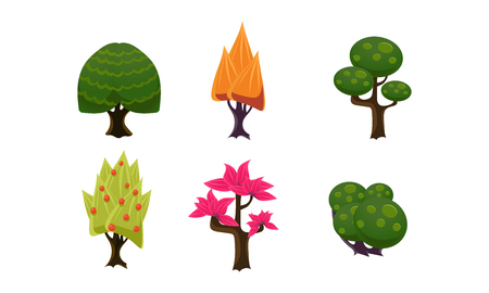 Summer trees set, cute cartoon fantasy plants, user interface assets for mobile apps or video games vector Illustration isolated on a white background.
