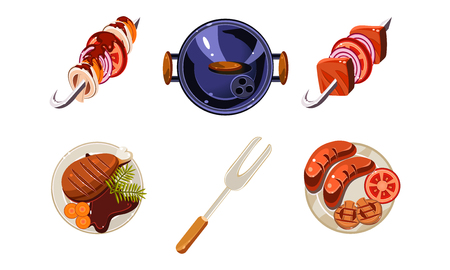 Traditional meat dishes set, kebab, sausage, fried chicken, top view vector Illustration isolated on a white background.  イラスト・ベクター素材
