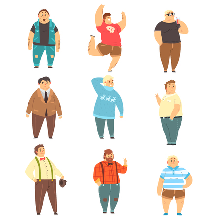 Handsome overweight men set, fat guys in fashionable clothes, body positive vector Illustrations isolated on a white background.