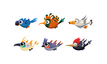 Cute cartoon flying birds set, funny colorful birds vector Illustration isolated on a white background.