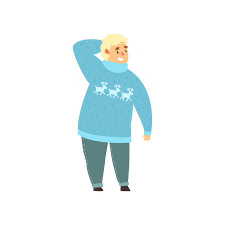 Handsome overweight man dressed in blue sweater with deers and jeans, fat guy in fashionable clothes, body positive vector Illustration isolated on a white background.