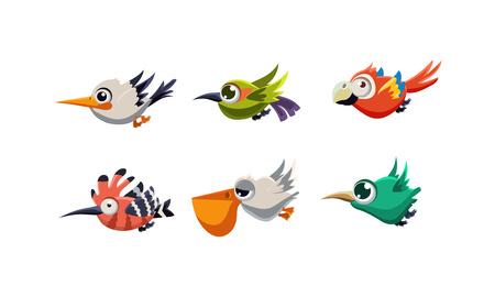 Cute cartoon colorful exotic flying little birds set vector Illustration isolated on a white background.