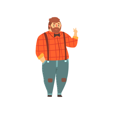 Hipster overweight man in casual clothes, fat guy in fashionable clothes, body positive vector Illustration isolated on a white background.