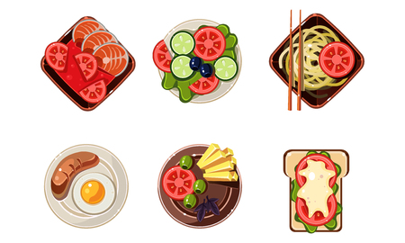 Tasty healthy dishes from different countries of the world set, dinner table, top view vector Illustration isolated on a white background.