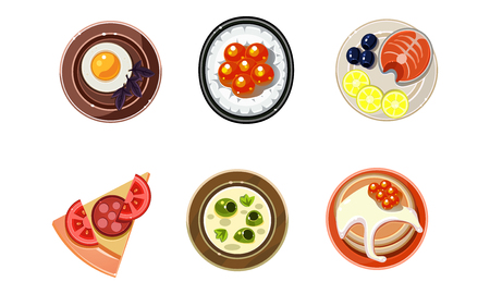Tasty dishesi from different countries of the world set, dinner table, top view vector Illustration isolated on a white background.