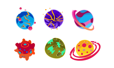 Fantasy alien planets of different colors set, cosmic elements for game design vector Illustration isolated on a white background.