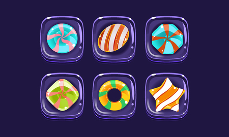 Glossy colorful shapes set, sweet square candy blocks, assets for user interface GUI for mobile apps or video games vector Illustration, web design