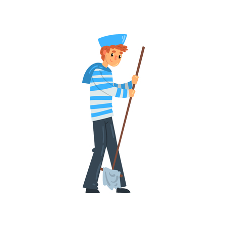 Sailor standing with mop, seaman character in striped singlet and cap vector Illustration isolated on a white background. Stock Illustratie