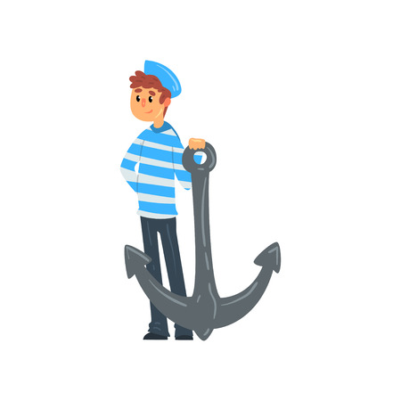 Sailor standing with anchor, seaman character in striped singlet and cap vector Illustration isolated on a white background. Illustration