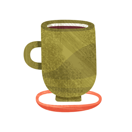 Big green cup with tea. Mug of delicious coffee. Hot beverage. Tasty drink. Decorative graphic element for cafe menu or advertising flyer. Colorful icon with texture. Isolated Flat vector illustration