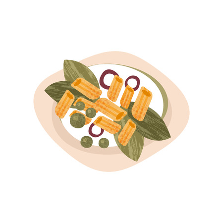 Plate of tasty macaroni. Pasta with greens, onion rings and peas. Appetizing dish for dinner. Flat vector icon with texture Standard-Bild - 108249629