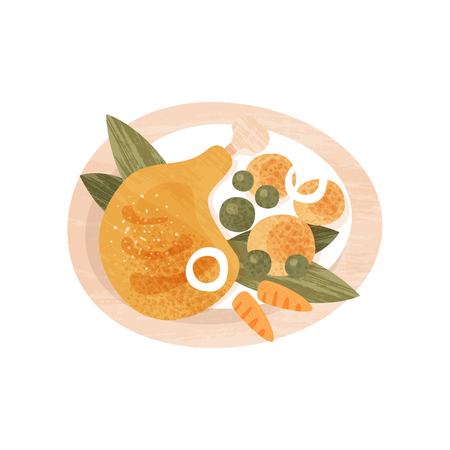 Chicken leg, potatoes, green peas and carrot in plate. Meal for dinner. Food theme. Flat vector icon with texture Illustration