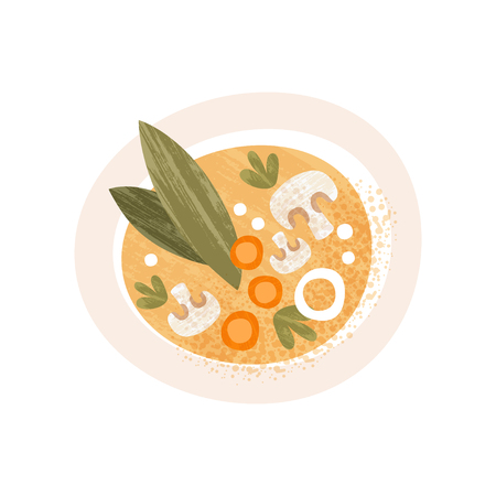 Plate of tasty soup with mushrooms and carrot, top view. Appetizing dish. Decorative graphic element for recipe book or cafe menu. Flat vector illustration with texture isolated on white background. Illustration