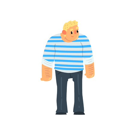 Muscular sailor man, seaman character in striped singlet vector Illustration isolated on a white background.