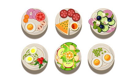 Set of different tasty dishes, top view. Food for breakfast and dinner. Culinary theme. Graphic elements for cafe or restaurant menu. Colorful flat vector illustrations isolated on white background. Illustration