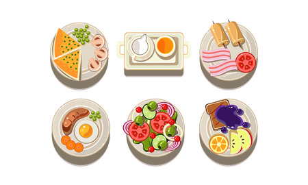 Set of plates with different dishes, top view. Tasty food. Graphic elements for restaurant menu or mobile app. Cartoon style icons Colorful flat vector illustrations isolated on white background. Vectores