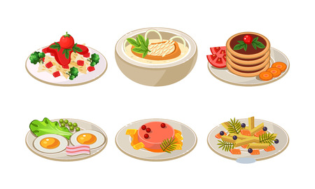 Collection of plates with tasty food. Appetizing dishes for breakfast and dinner. Delicious meal. Graphic elements for cafe menu. Cartoon style icons. Flat vector illustrations isolated on white.
