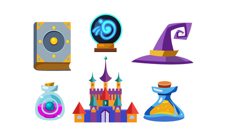 Flat vector set of fabulous items for mobile game. Book of spells, magic ball, wizard hat, bottles with elixirs and castle Illustration