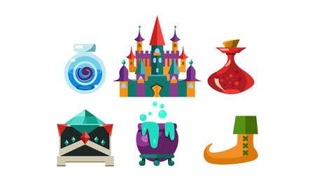 Set of cartoon magic objects. Bottles with elixir, big castle, cauldron with boiling potion and small casket.