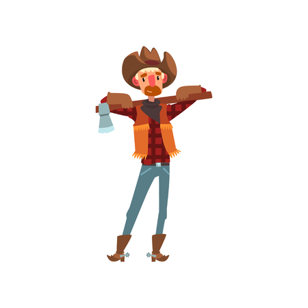 Cowboy in traditional clothes standing with axe, western cartoon character vector Illustration isolated on a white background. Иллюстрация