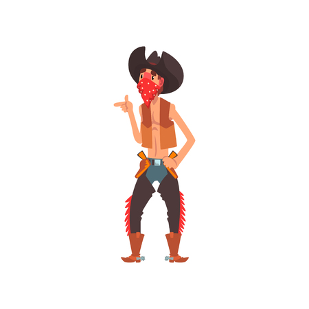 Cowboy western cartoon character vector Illustration isolated on a white background. Illustration