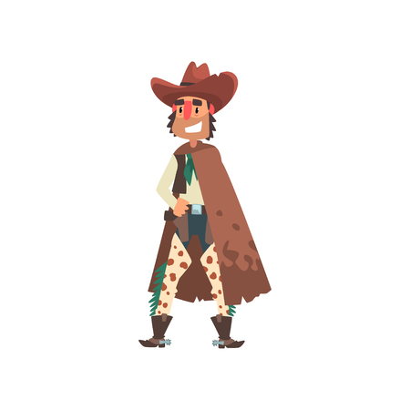 Cowboy funny western cartoon character vector Illustration isolated on a white background. Иллюстрация