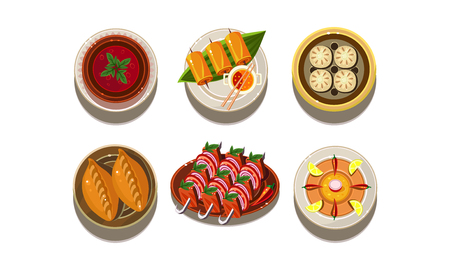 Set of plates with tasty Asian dishes. Traditional Chinese cuisine. Delicious food. Appetizing meal. Graphic elements for cafe menu. Cartoon style icons. Colorful flat vector design isolated on white.