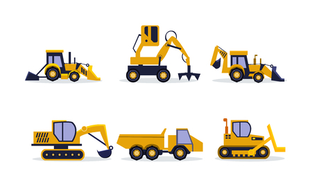 Set of different construction equipment, side view. Excavator, backhoe loader, rock truck. Heavy machinery for building. Graphic elements for business poster. Isolated vector icons in flat style.