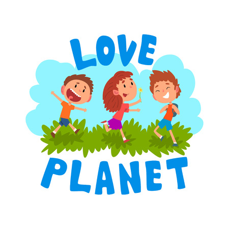Cute cartoon kids having fun outdoors, love planet, ecology concept vector Illustration isolated on a white background.