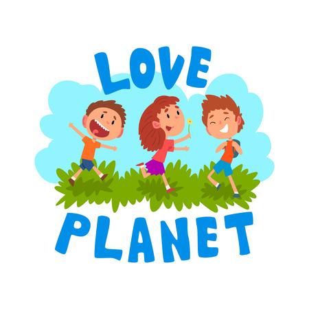 Niños de dibujos animados lindo que se divierten al aire libre, planeta de amor, vector de concepto de ecología ilustración aislada sobre fondo blanco.